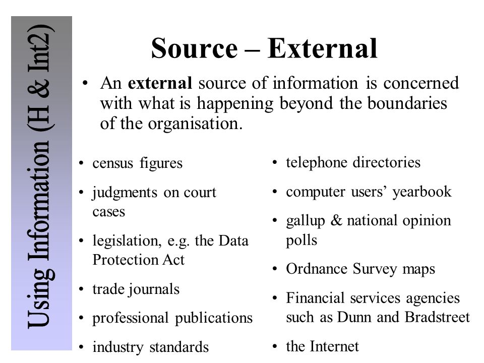 Source – External An external source of information is concerned with what is happening beyond the boundaries of the organisation.