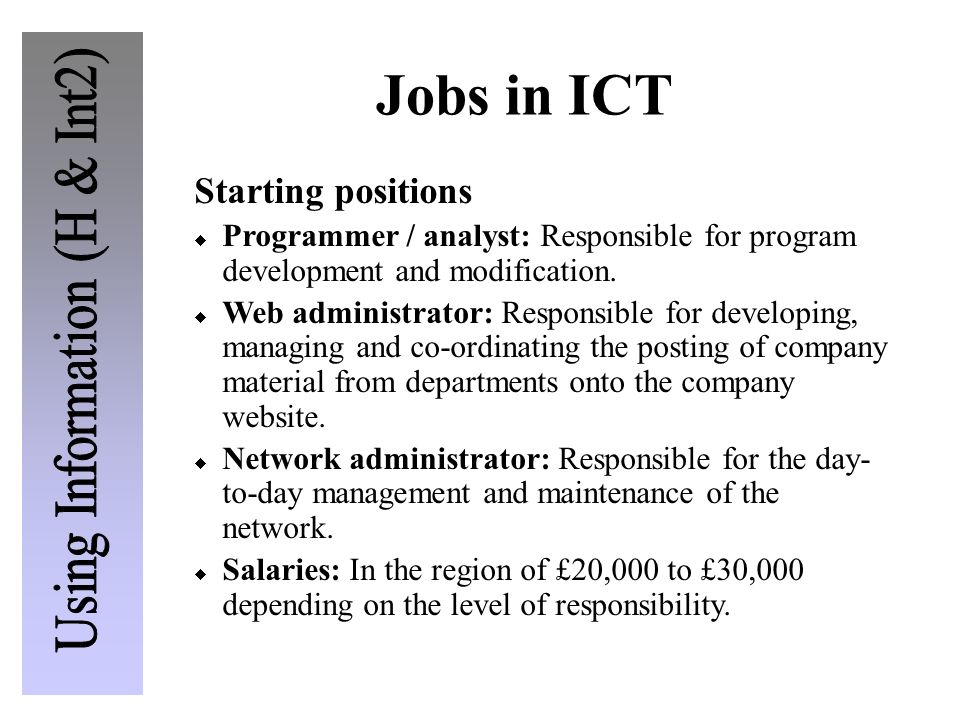 Jobs in ICT Starting positions