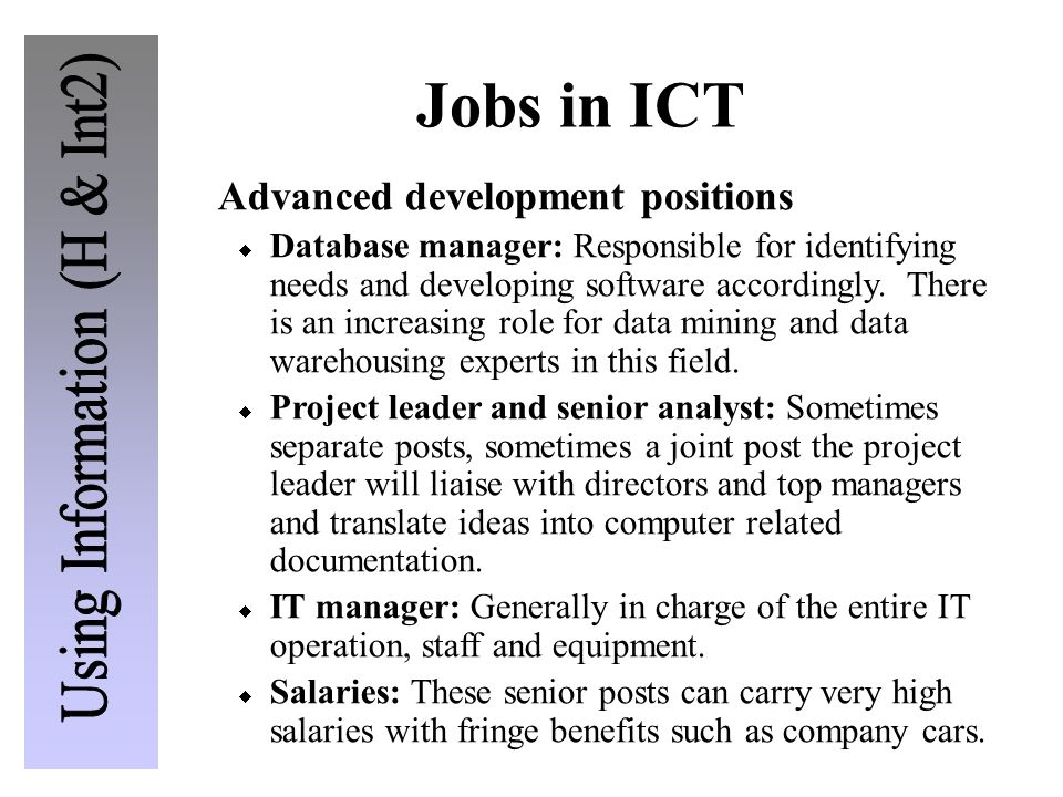 Jobs in ICT Advanced development positions