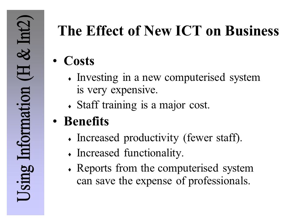The Effect of New ICT on Business
