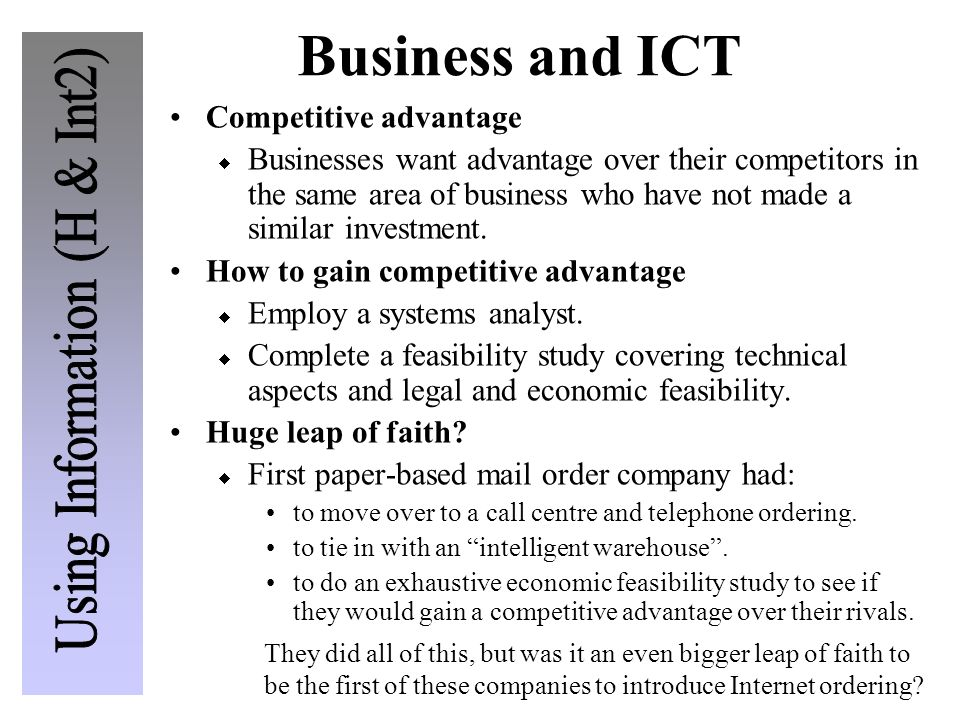 Business and ICT Competitive advantage