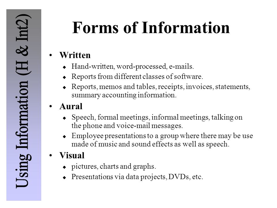 Forms of Information Written Aural Visual