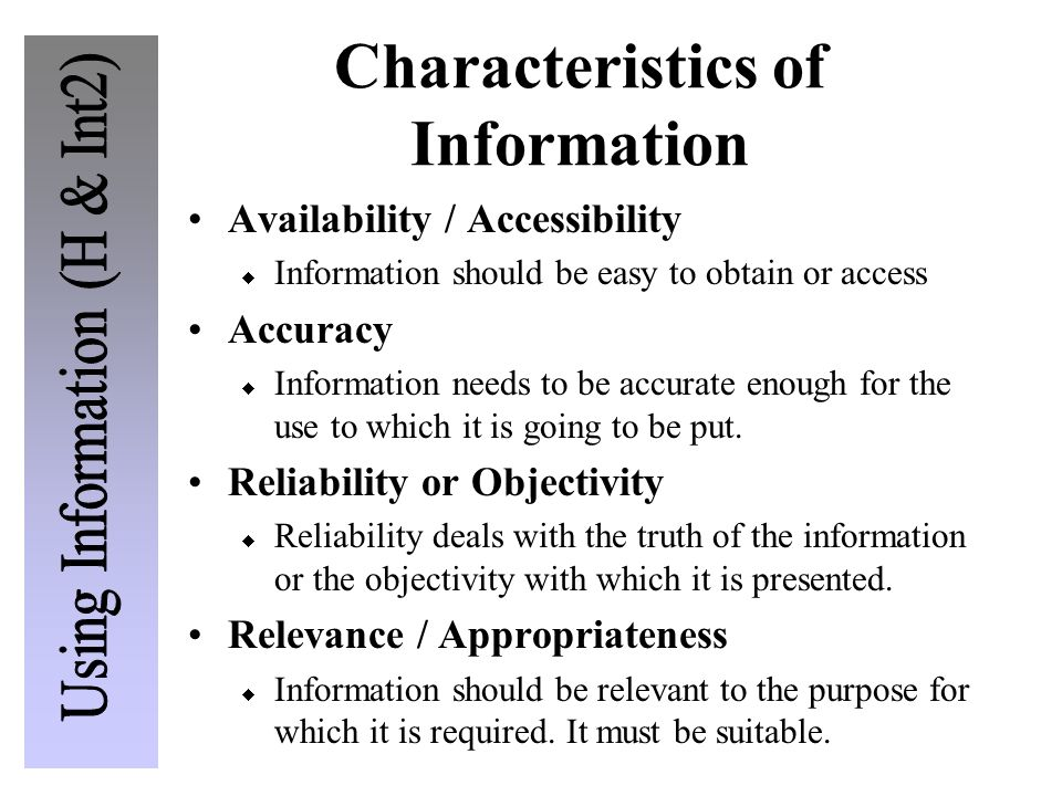 Characteristics of Information