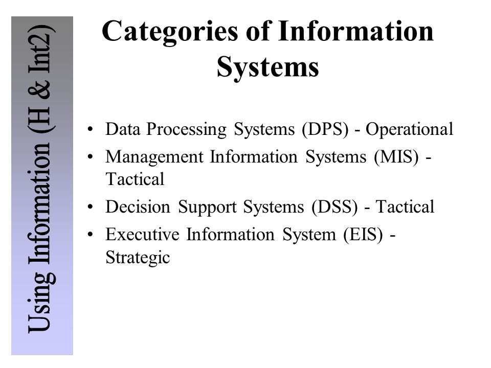 Categories of Information Systems