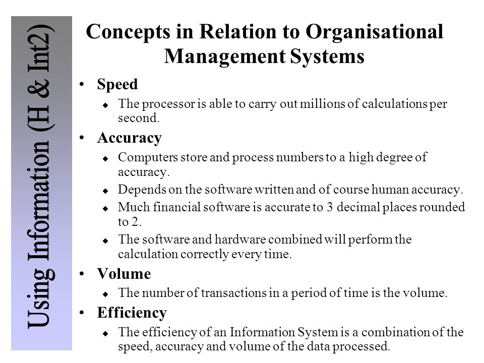 Concepts in Relation to Organisational Management Systems
