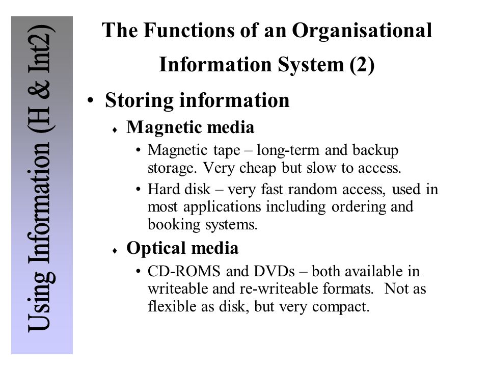 The Functions of an Organisational Information System (2)