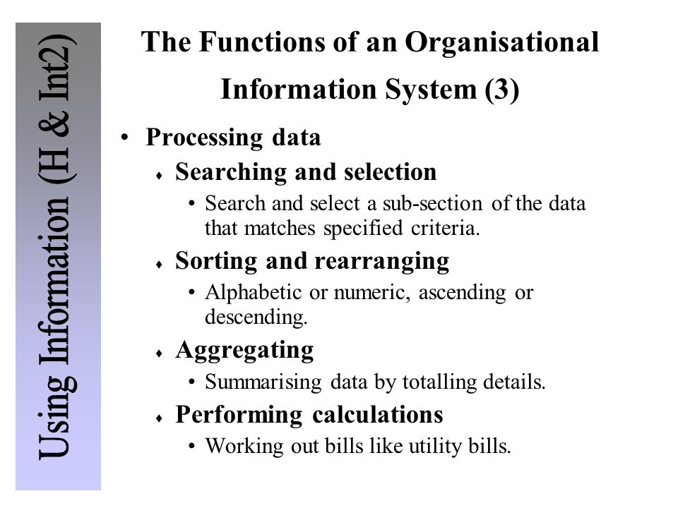 The Functions of an Organisational Information System (3)