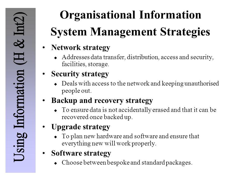 Organisational Information System Management Strategies