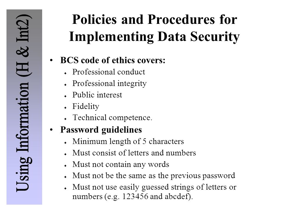 Policies and Procedures for Implementing Data Security