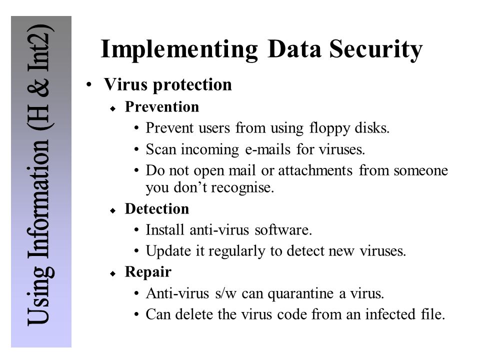 Implementing Data Security