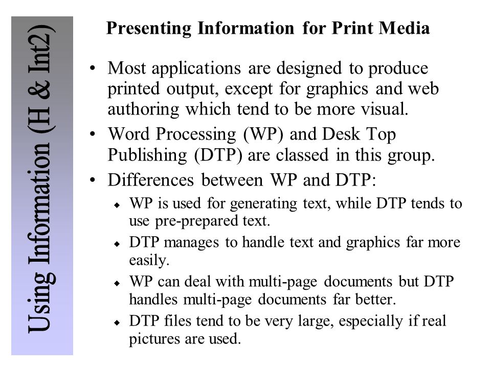 Presenting Information for Print Media