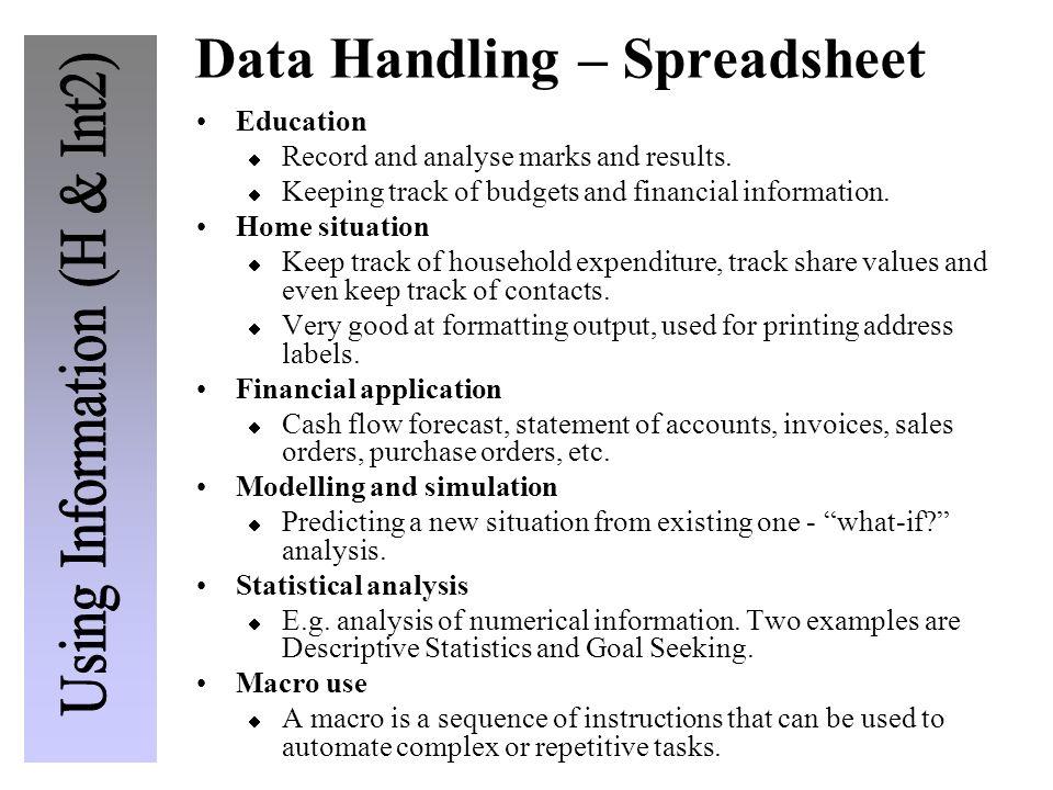 Data Handling – Spreadsheet