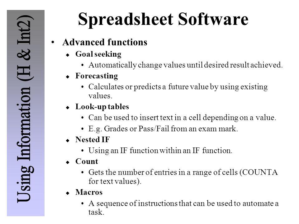 Spreadsheet Software Advanced functions Goal seeking