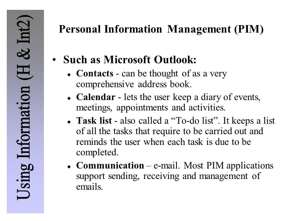 Personal Information Management (PIM)