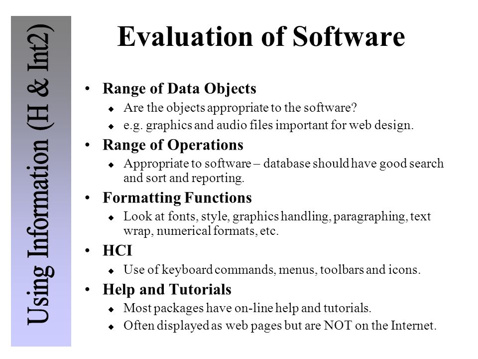 Evaluation of Software