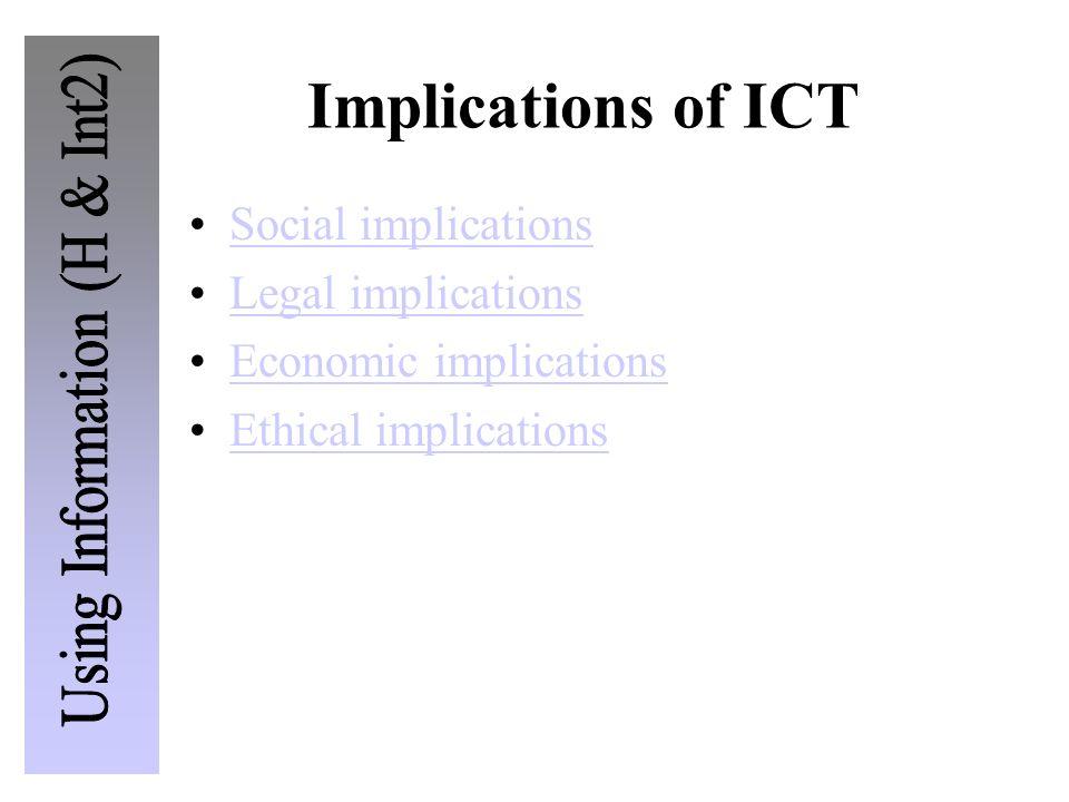 Implications of ICT Social implications Legal implications