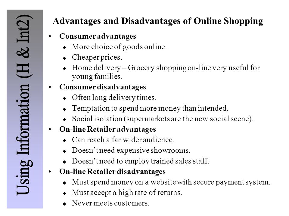 Advantages and Disadvantages of Online Shopping