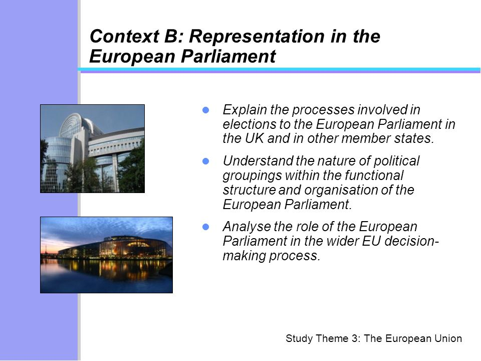 Context B: Representation in the European Parliament