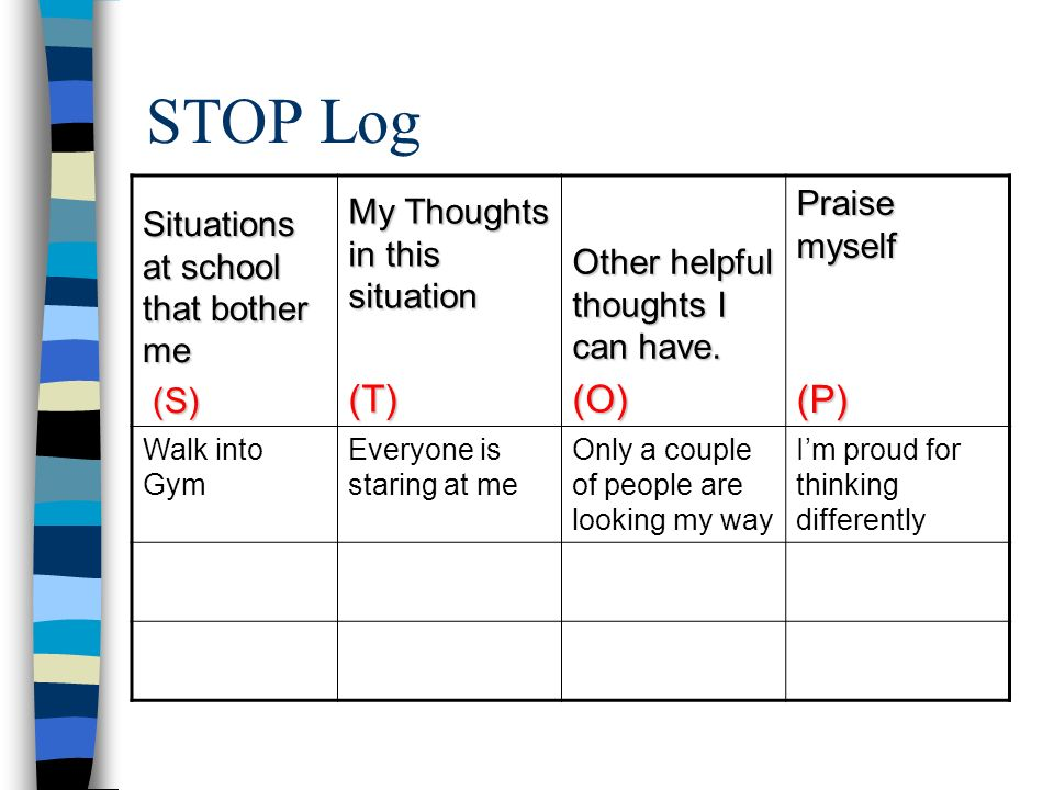 STOP Log (T) (O) (P) Praise myself My Thoughts in this situation