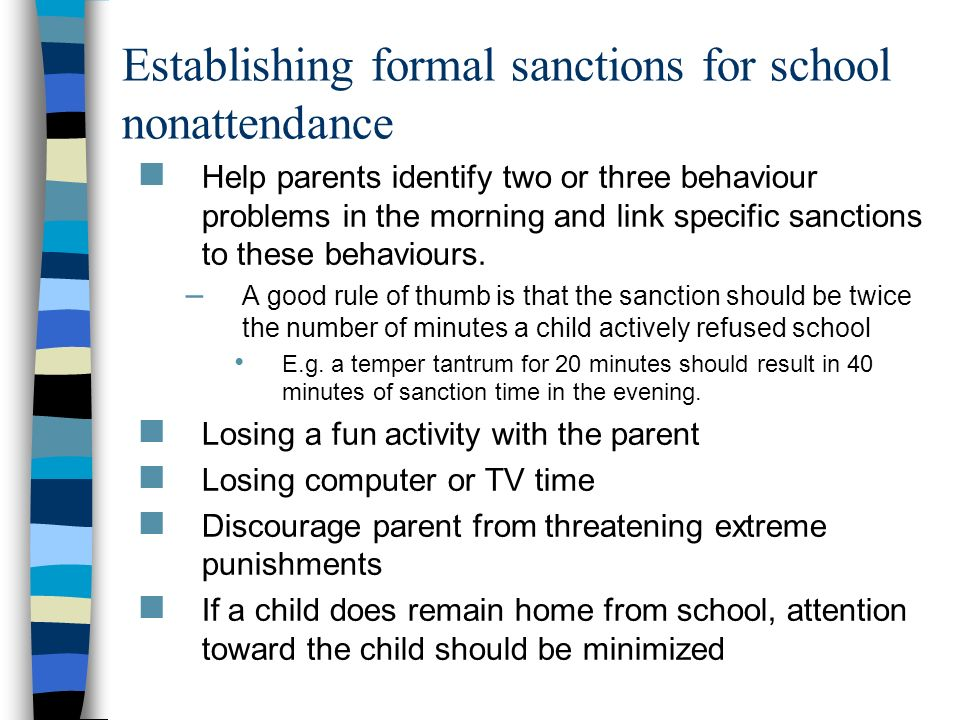 Establishing formal sanctions for school nonattendance