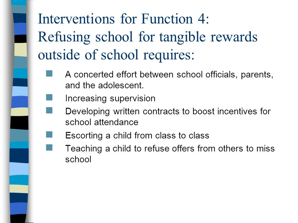 Interventions for Function 4: Refusing school for tangible rewards outside of school requires: