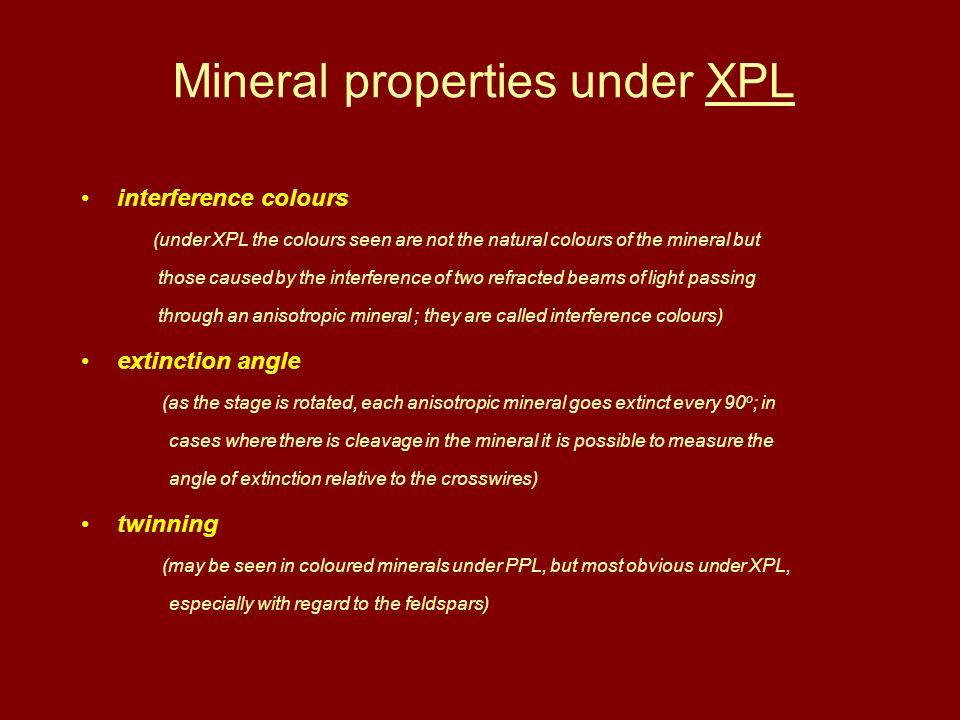 Mineral properties under XPL