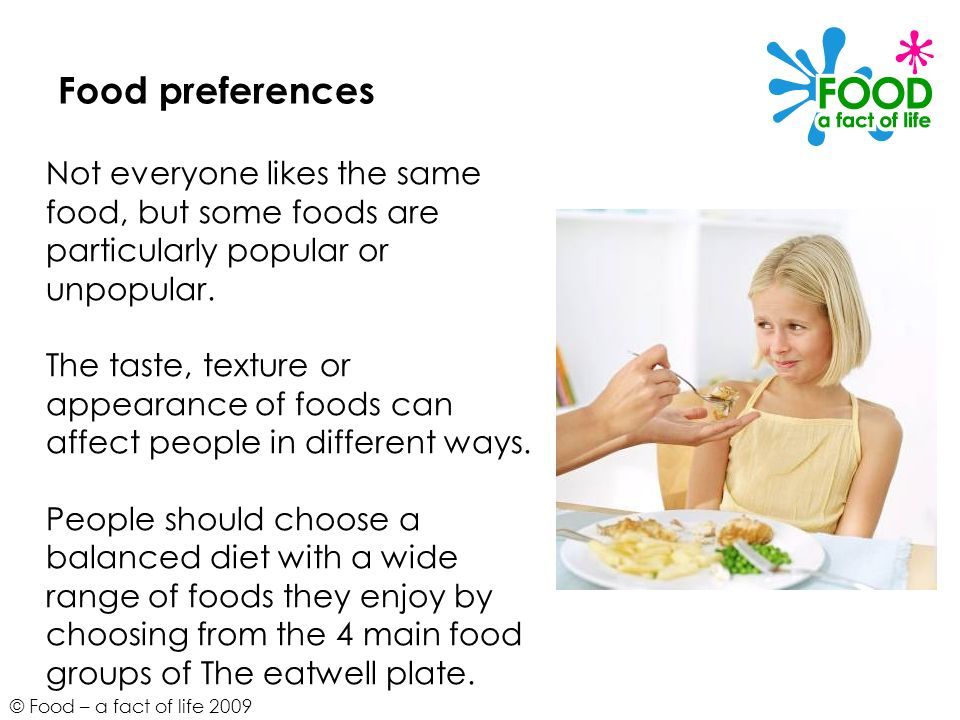 Food preferences Not everyone likes the same food, but some foods are particularly popular or unpopular.