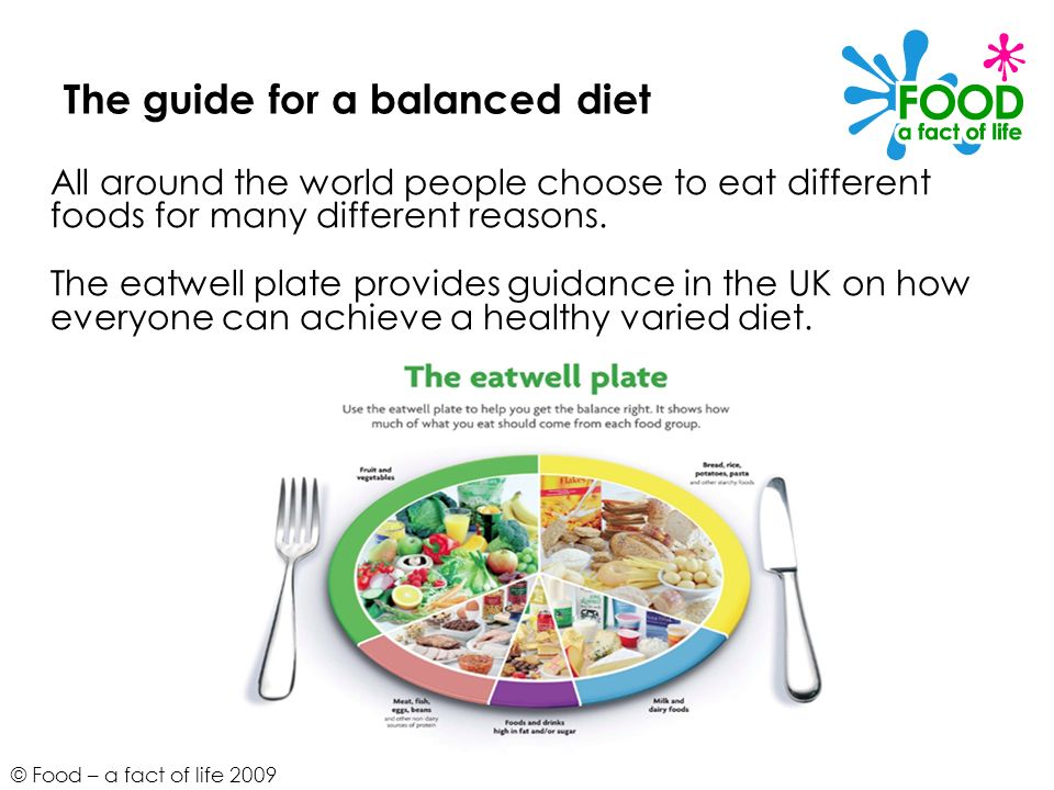 The guide for a balanced diet