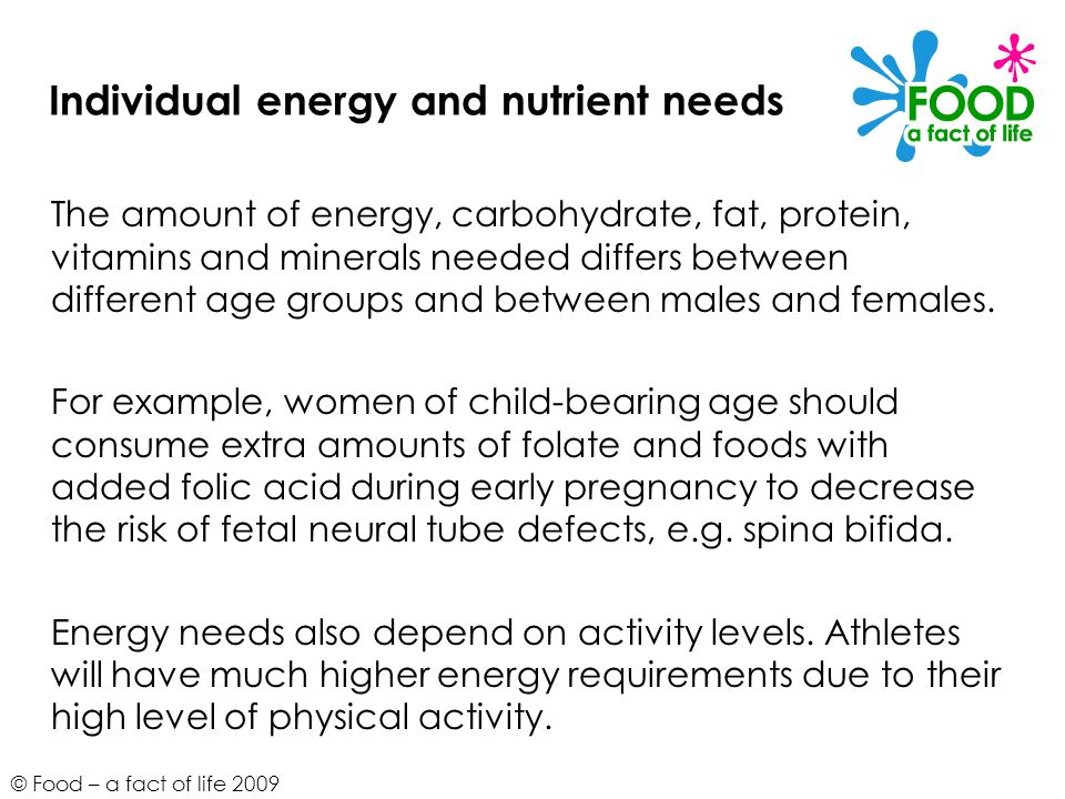 Individual energy and nutrient needs