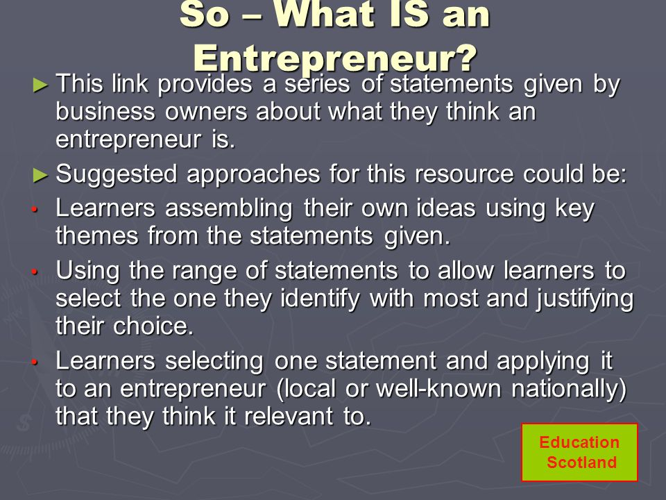 So – What IS an Entrepreneur
