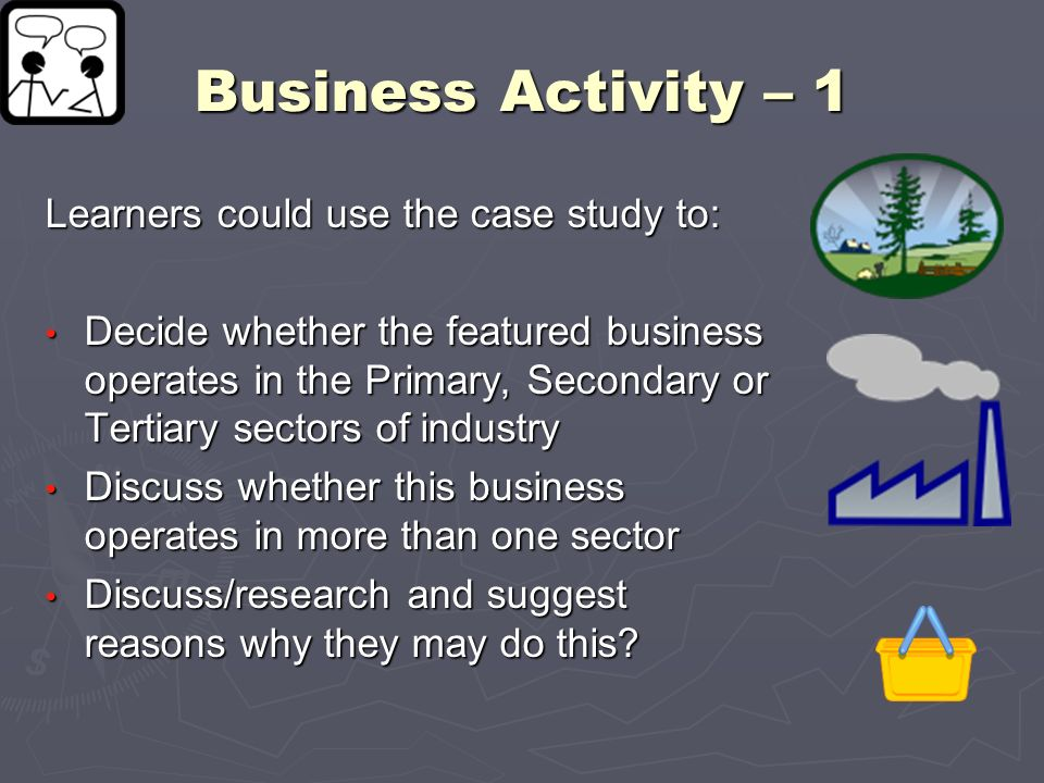 Business Activity – 1 Learners could use the case study to: