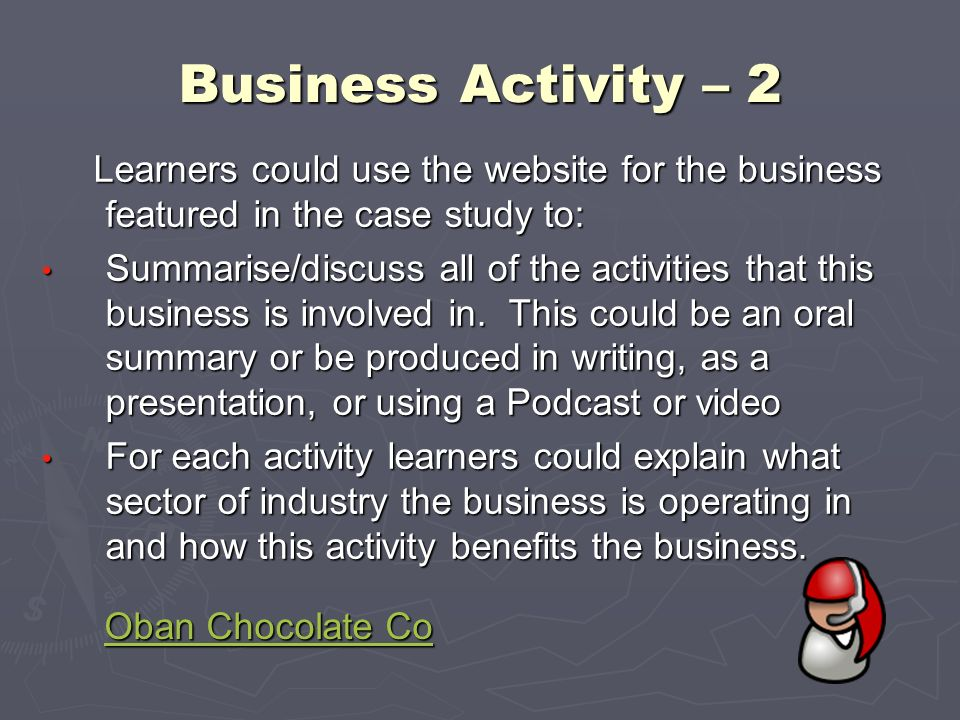 Business Activity – 2 Learners could use the website for the business featured in the case study to: