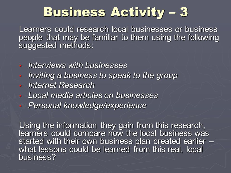 Business Activity – 3 Learners could research local businesses or business people that may be familiar to them using the following suggested methods: