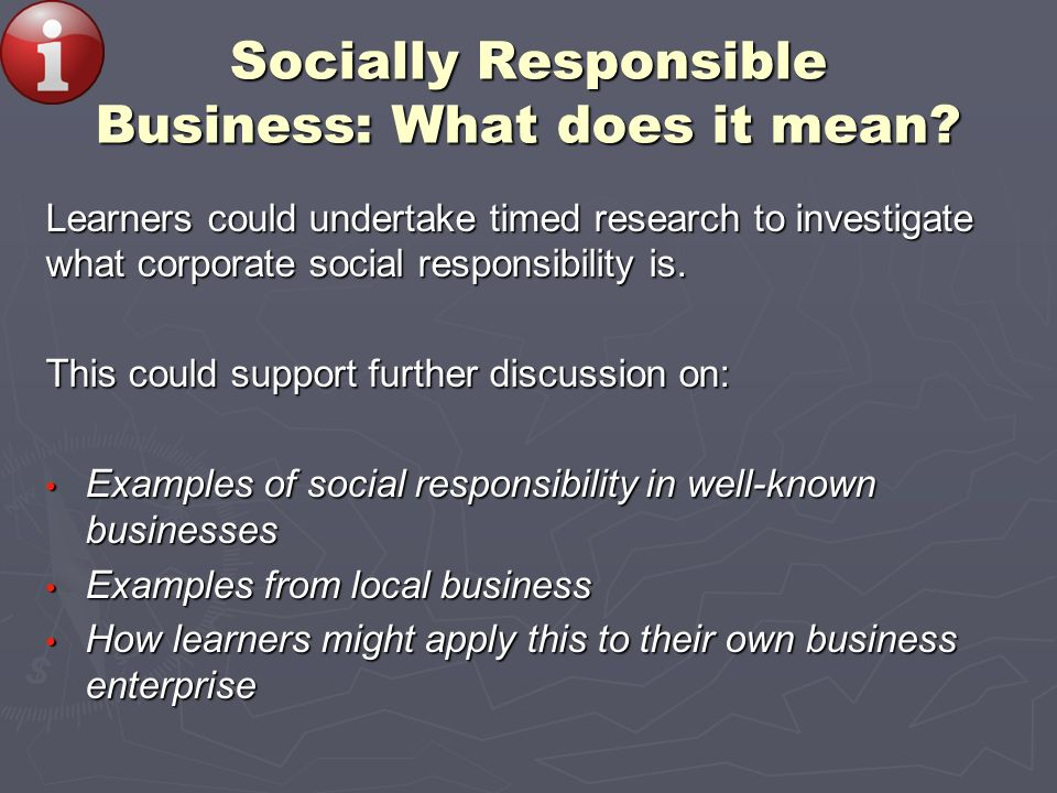 Socially Responsible Business: What does it mean