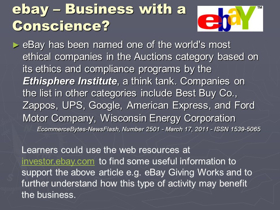 ebay – Business with a Conscience