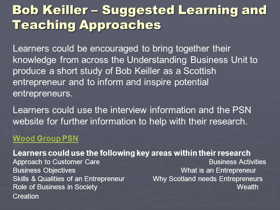 Bob Keiller – Suggested Learning and Teaching Approaches