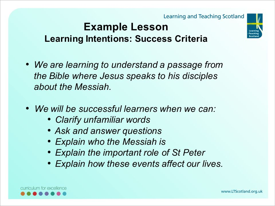 Example Lesson Learning Intentions: Success Criteria