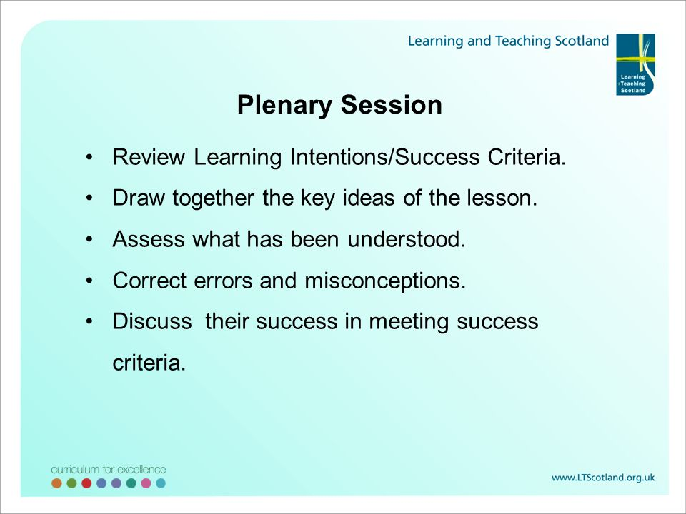 Plenary Session Review Learning Intentions/Success Criteria.