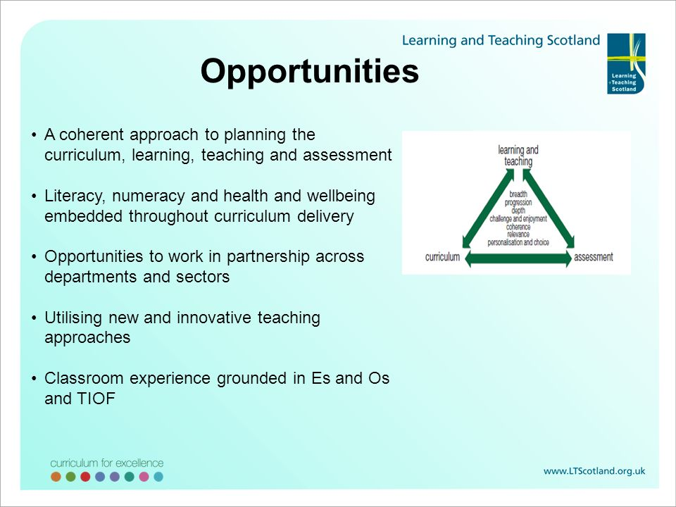 Opportunities A coherent approach to planning the curriculum, learning, teaching and assessment.