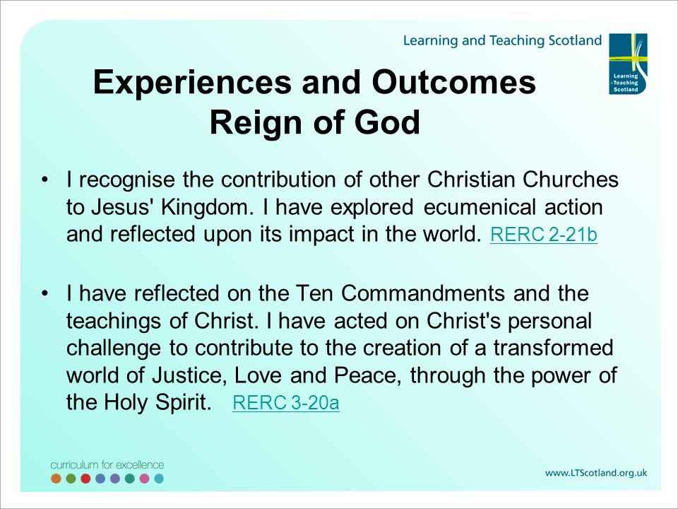 Experiences and Outcomes Reign of God
