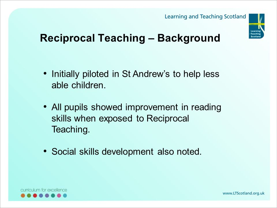 Reciprocal Teaching – Background