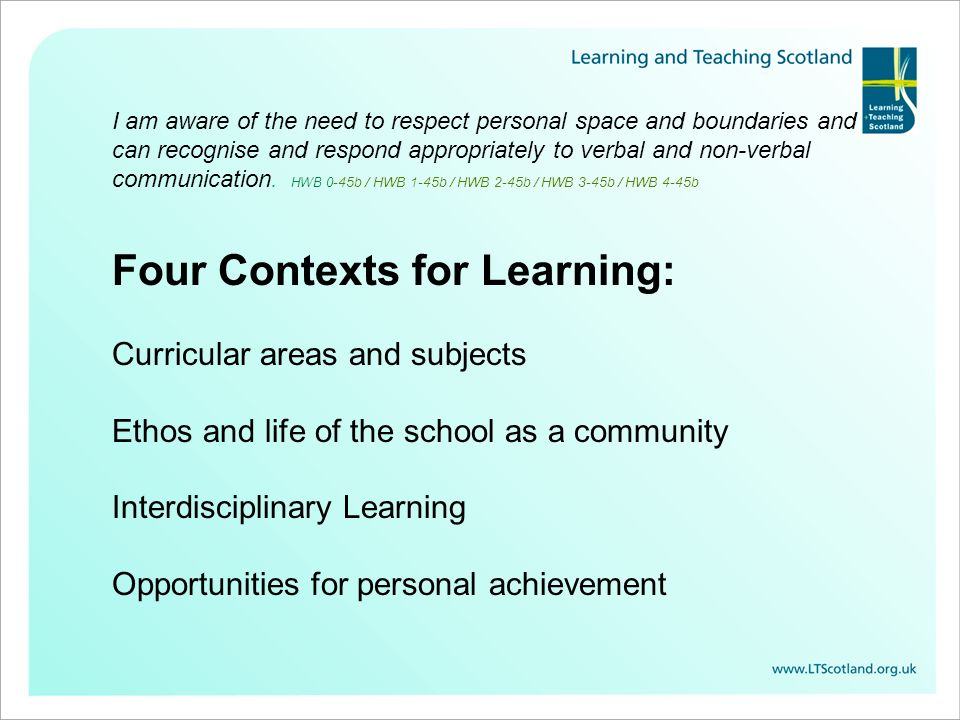 Four Contexts for Learning: