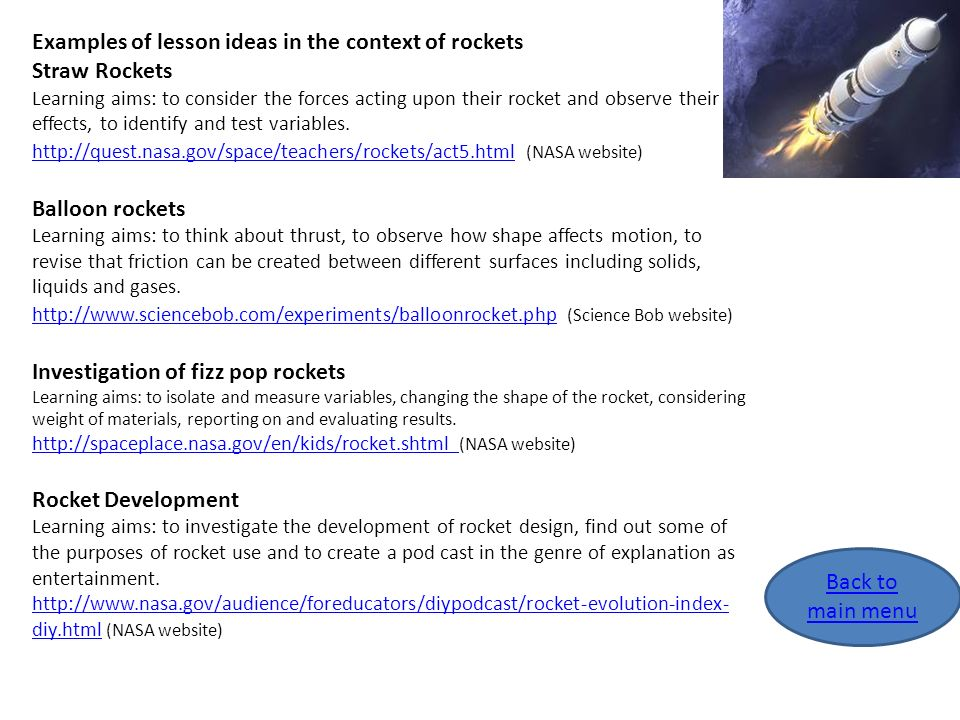 Examples of lesson ideas in the context of rockets Straw Rockets