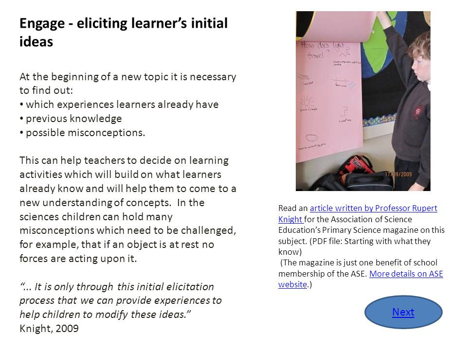 Engage - eliciting learner's initial ideas