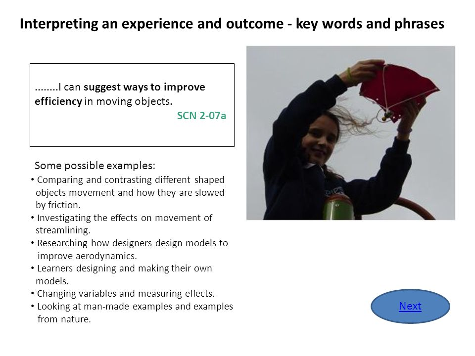 Interpreting an experience and outcome - key words and phrases