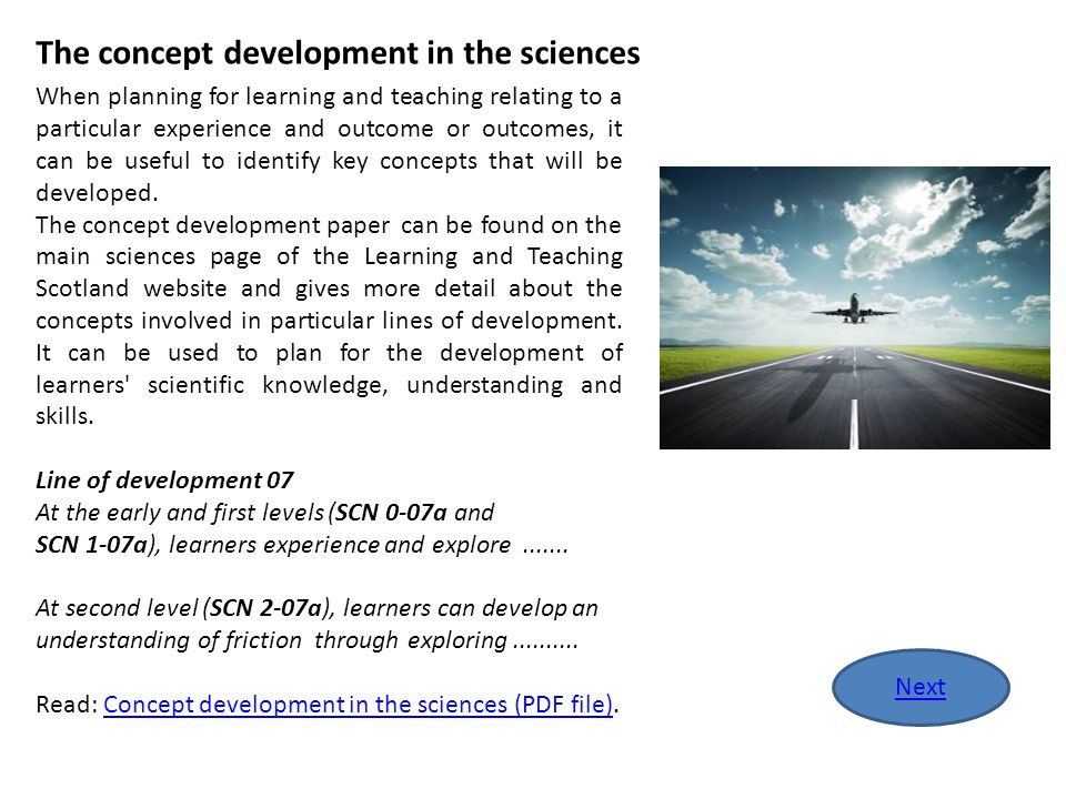 The concept development in the sciences