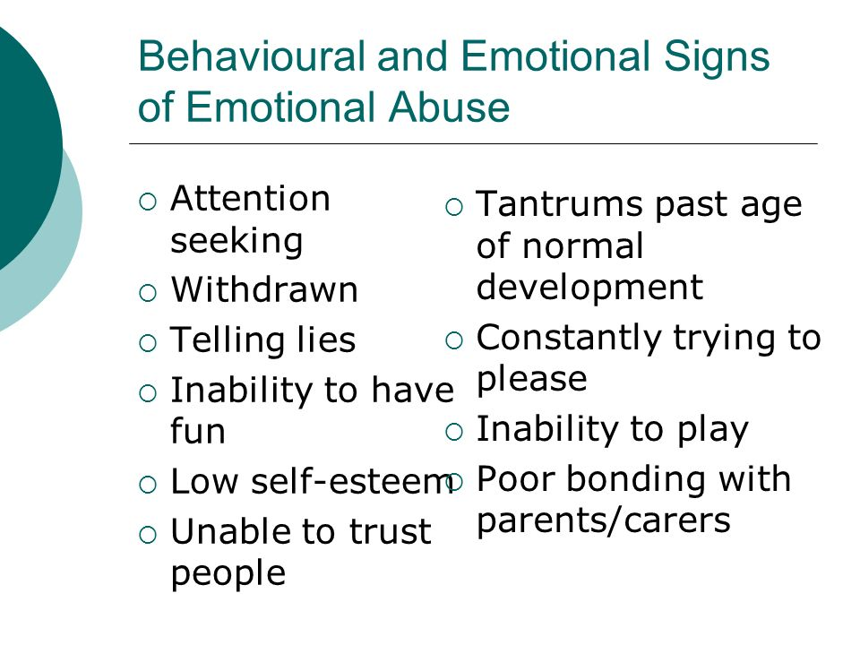 Behavioural and Emotional Signs of Emotional Abuse
