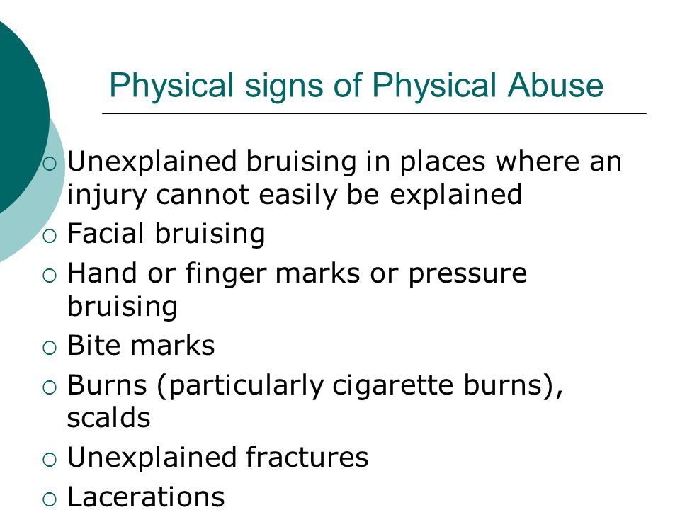 types of abuse signs symptoms Some signs of child abuse are more obvious than others here are some common signs that a child may have experienced abuse.