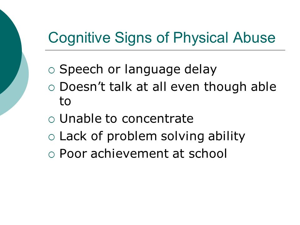 Cognitive Signs of Physical Abuse