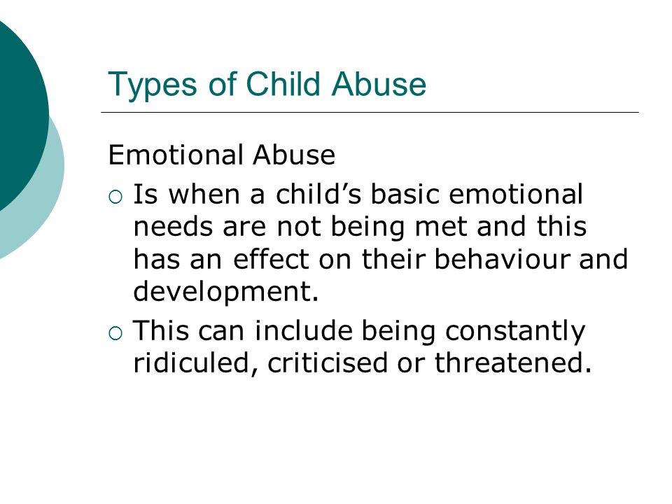 Types of Child Abuse Emotional Abuse